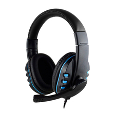цена на 3.5mm Wired Headphone With Mic Gaming Headset Earphone Low Bass Stereo For Ps4  One Pc(Blue)