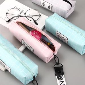 Небольшой свежий большой емкости квадратный творческая личность текст ремешок пенал для карандашей портативный Карандаш сумка CL-19218