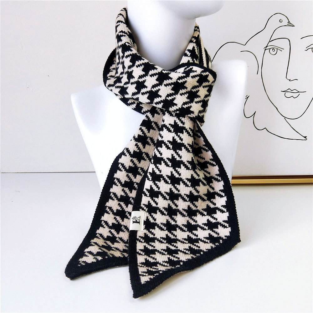 Luxury Brand Female Angled Sharp Houndstooth Warm Long Narrow Small Skinny Neckerchief Knitted Winter Scarf Woman
