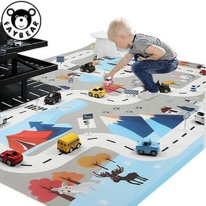 Детский игровой коврик, игровой коврик 130*100 см, динозавр, мировая дорожка, парковка, животные, игровой коврик, карта, детская игрушка, INS, холс...