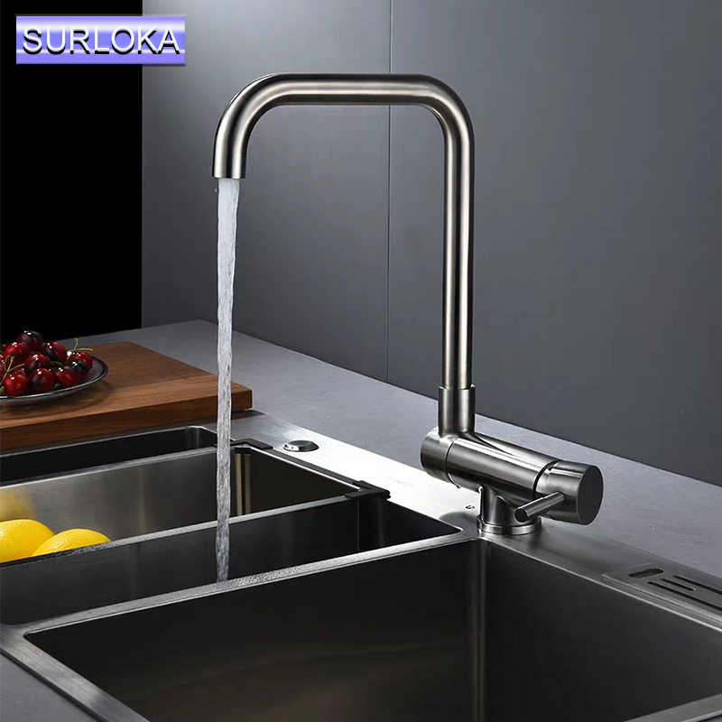 Classic Kitchen Faucet Stainless Steel 90 Folding Basin Faucet 360 Degree Rotation Sink Hot/Cold Water Mixer Tap Chrome Faucet