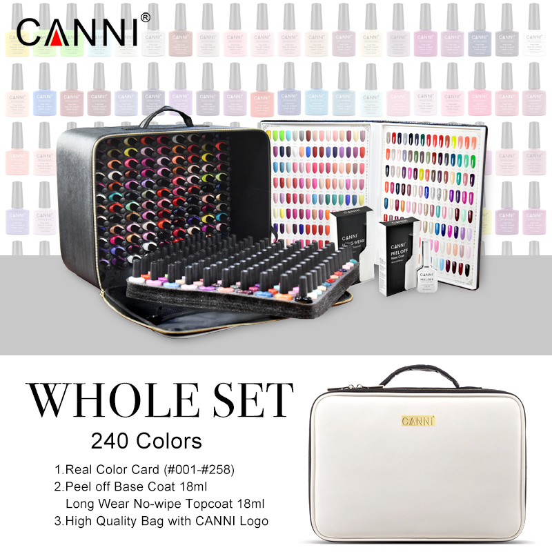 240 Colors/lot CANNI Soak Off Gel Nail Polish 7.3ml LED UV Color Gel Lacquer Nail Art Salon LED Lamp Curing UV Gel Nail Polish