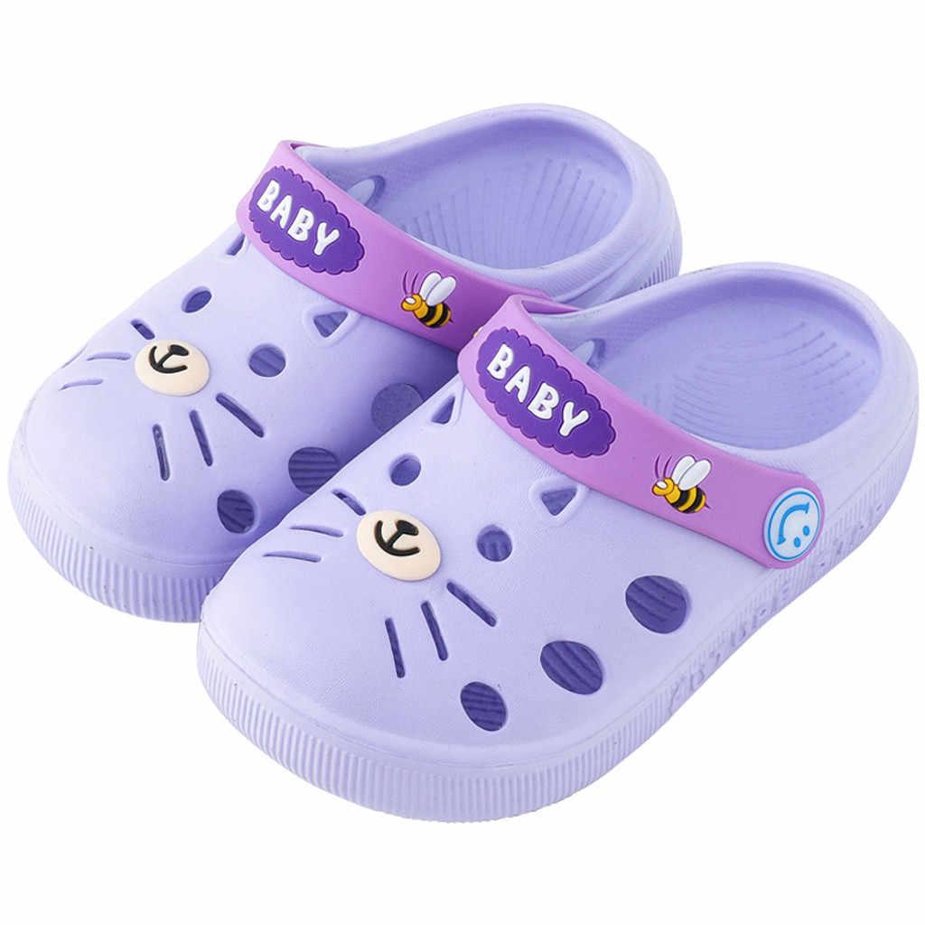 Criança infantil do bebê dos miúdos da menina meninos casa chinelos gato dos desenhos animados sapatos de chão sandálias bowknot toddlers recém-nascido sandália infantil #30
