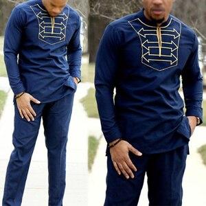Image 2 - H & D ropa africana para hombre y niño, camiseta de manga larga, pantalones, traje para hombre, padre, hijo, dashiki, bordado, ropa de fiesta, 2020