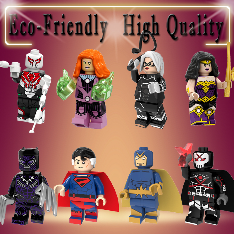 Super Heroes Legoeinglys MINIFIGURed Building Blocks Black Panther Black Cat Spiderman Superman Starhawk Toys Gifts PG8217