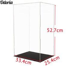 Odoria Caja de exhibición de acrílica transparente 52cm H autoensamblaje caja Perspex a prueba de polvo