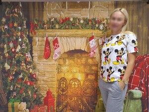 Image 2 - Capisco 실내 벽난로 메리 크리스마스 사진 배경 인쇄 크리스마스 트리 장난감 곰 선물 의자 새해 사진 배경