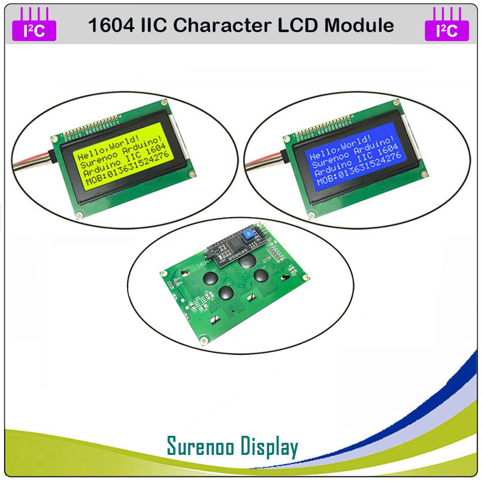 Serial IIC / I2C / TWI <font><b>1604</b></font> 164 16*4 Character LCD Module Display Yellow Green Blue with Backlight for Arduino image