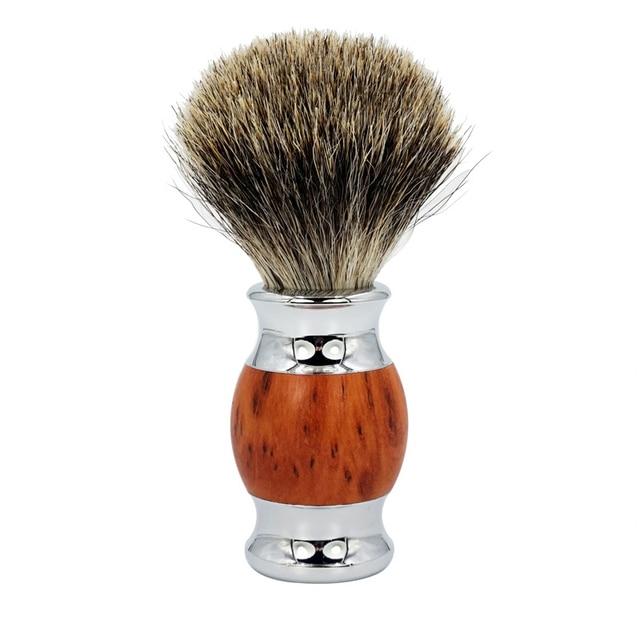 Men's Manual Shaver Set Retro Double-sided Old-fashioned Manual Woodgrain Long Shaver Holder 3