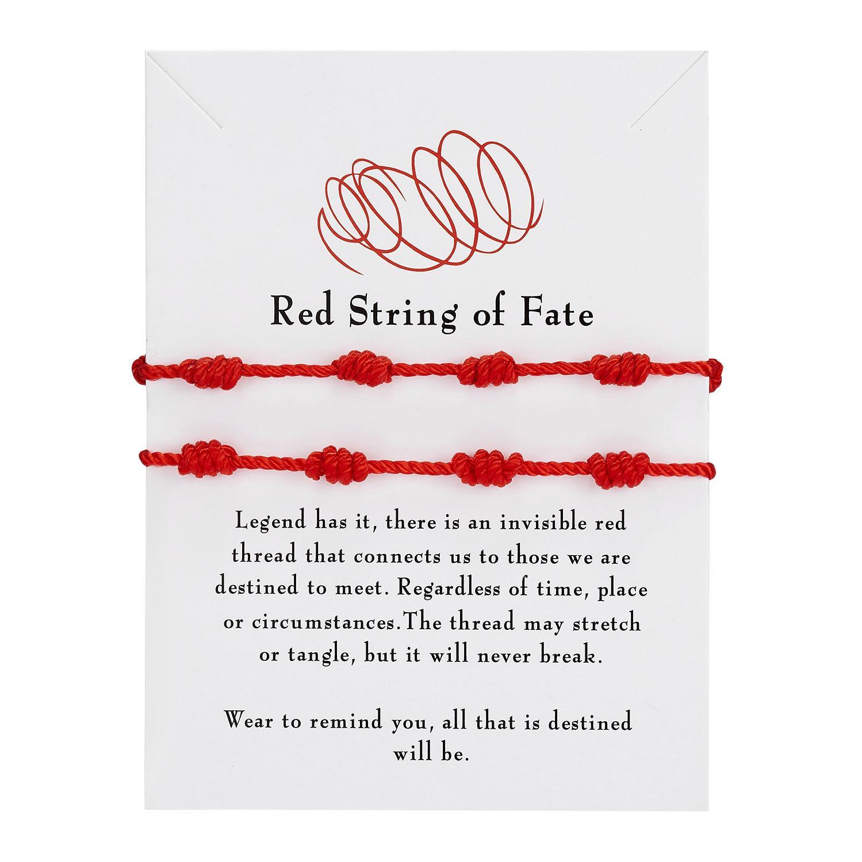 2 шт./компл., модный браслет ручной работы с 7 узлами, красная веревка для защиты, счастливый амулет и дружба, плетеный браслет, ювелирные изде...