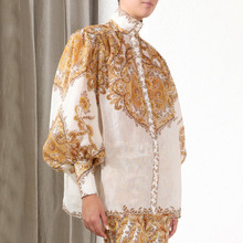 2019 Autumn retro print lantern sleeves Shirts Chic womens stand collar loose A724