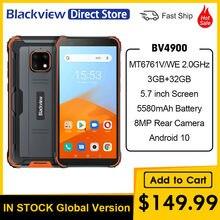 Blackview bv4900 android 10 smartphone impermeável áspero 3gb ram 32gb rom ip68 celular 5580mah 5.7 polegada nfc celular