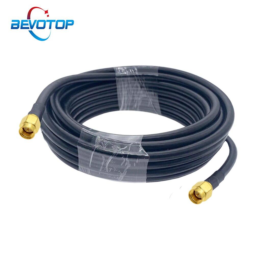 1m 2 5m 10m 20m sma macho para sma macho rg58 50ohm cabo coaxial sma plug wifi antena cabo de extensão conector adaptador trança