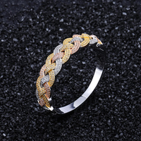 New Arrived Men Hip Hop Weave Shape Bangle High Quality AAA Zircon Fashion Three Color Copper Bracelet Hiphop Women Jewelry gift