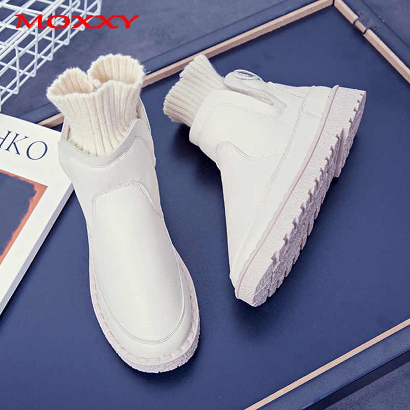 2019 yeni moda düz çorap çizmeler kadın ayakkabıları yarım çizmeler Platform çizmeler rahat siyah Sneakers kürk peluş kışlık botlar