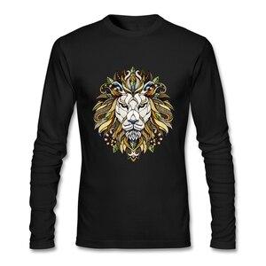 Мужская футболка в стиле хип-хоп, животный покер со львами, футболка из натурального хлопка с круглым вырезом и длинными рукавами, Camisetas, муж...