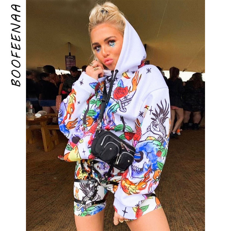 BOOFEENAA Skull Graffiti Camo Hip Hop Womens Oversized Hooded Hoodies Streetwear Long Sweatshirts Fall Winter 2020 C70-AH09