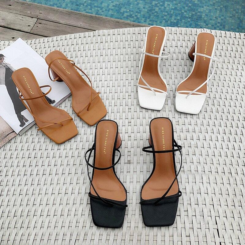 All-Match Ankle Strap Fashion Womens Shoes 2020 Black Platform Sandals Square Toe Suit Female Beige Block Heels Luxury Women's(China)