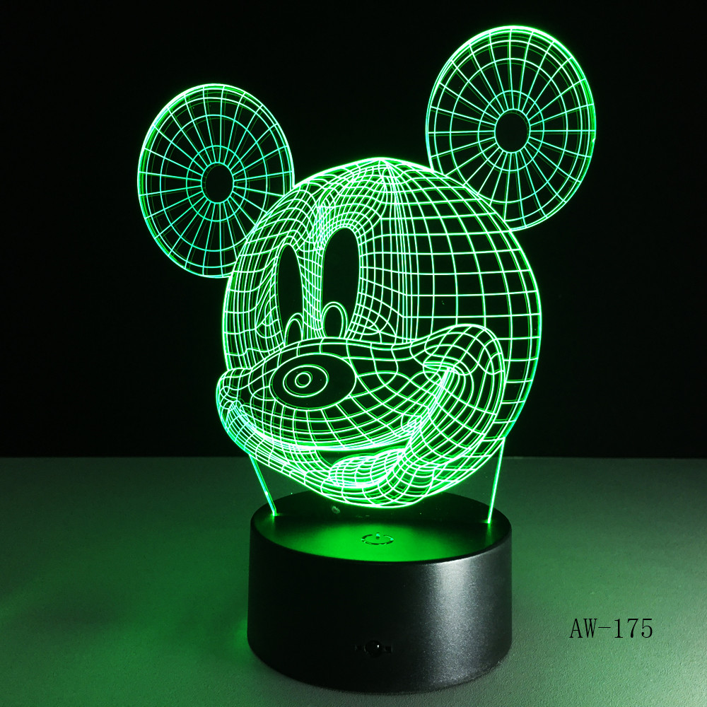 Hot 3D  Lamp Desk Led Night  Multicolor Cartoon Mickey Mouse Lampara Touch Button Home Decorations Lightings 175