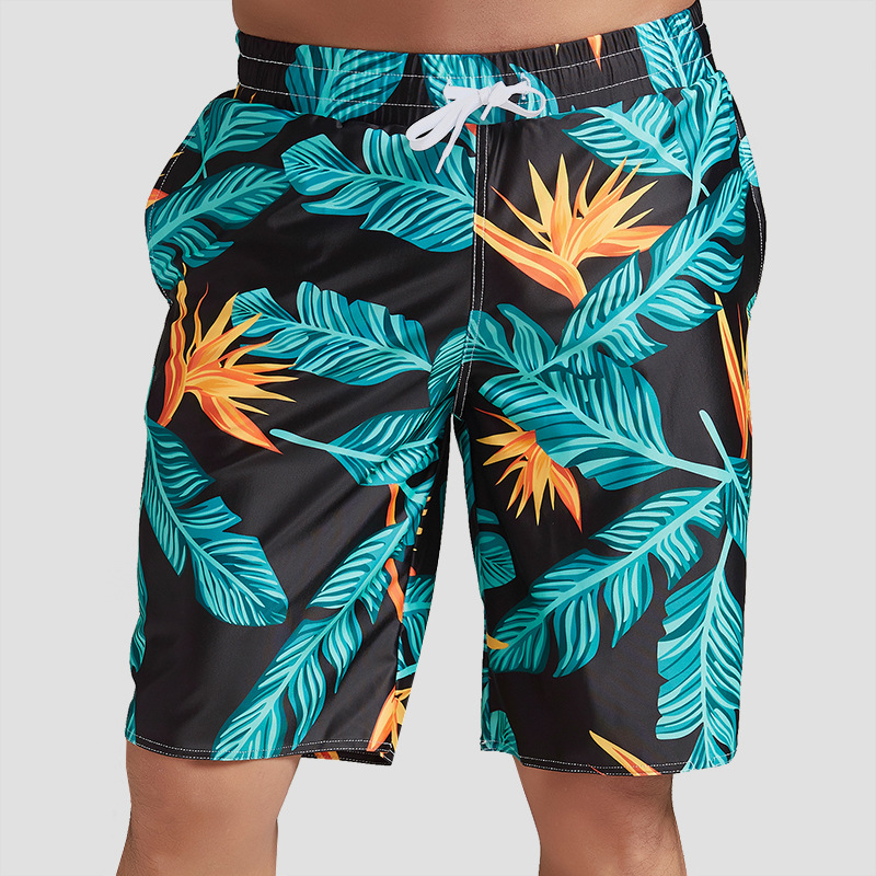 2019 Summer Men's Quick-Dry Beach Shorts Seaside Holiday Loose-Fit Short Large Size Flower Pants Trend Youth Shorts