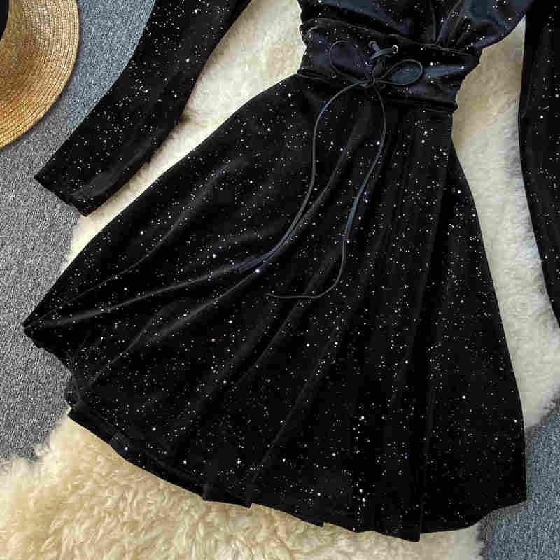 Nicemix 2019 Winter Nieuwe Vrouwen V-hals Lange Mouw Lovertjes Trekkoord Fluwelen A-lijn Jurk Vrouwelijke Effen Kleur Elegant Fairy Dres