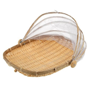 Handmade Bamboo Woven Bug Proof Wicker Basket with Gauze Dustproof Food Fruit Vegetable Bread Cover Eco-Friendly