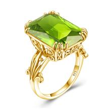 14K Gold Color Natural Peridot Ring 925 Sterling Silver Rings For Women Wedding Engagement Gemstones Silver 925 Jewelry Genuin