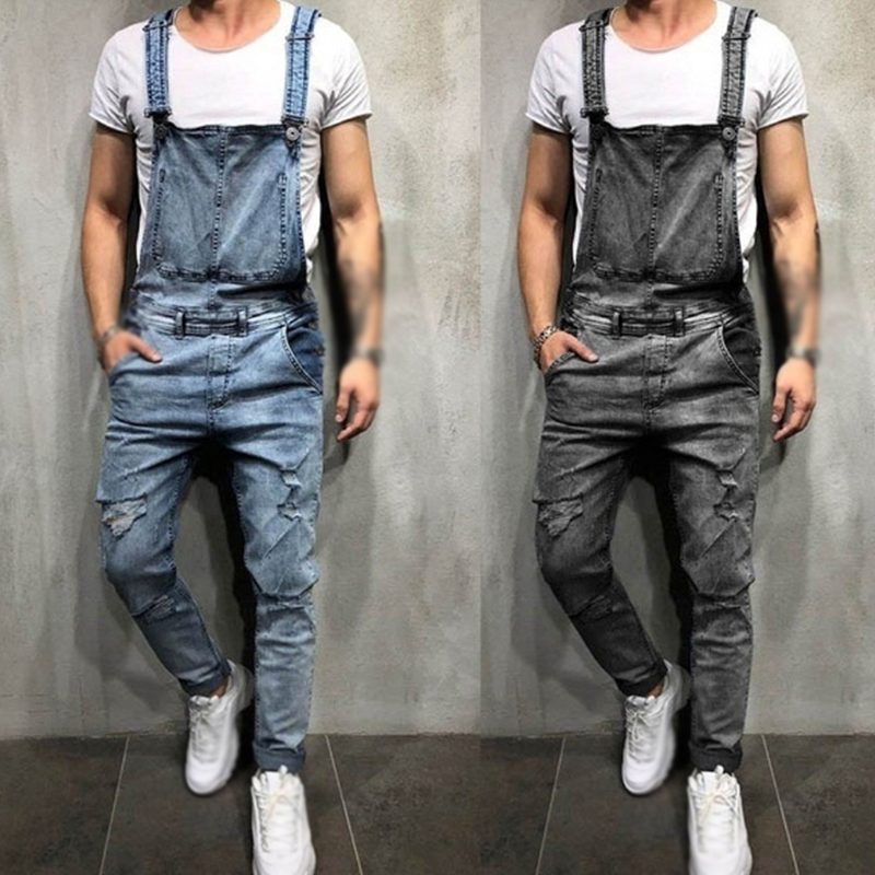 Men's Casual Jeans Pants With Belts Fashion Casual Straps Jumpsuit Hot Retro Men's Jeans High Quality Male Wild Trousers