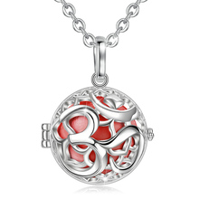 Angel Caller Plated Silver OM Style Cage Pendant Harmony Necklace Pregnancy ball/Chime pendant/Baby bola For Women Baby K347N20