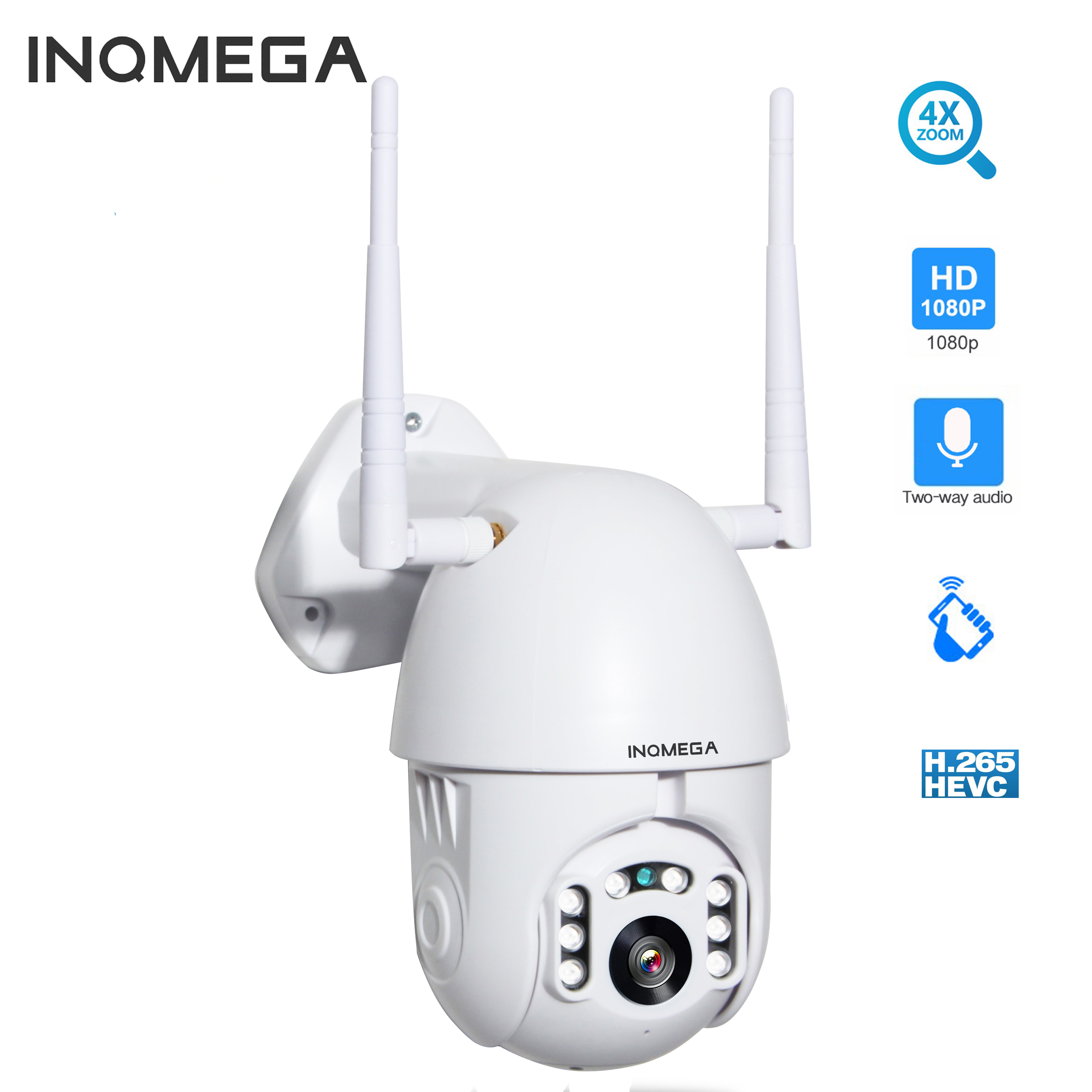 INQMEGA IP Camera Outdoor  4X Digital Zoom 1080p PTZ Speed Dome CCTV Security Cameras WIFI Exterior IR Home Surveilance Kamera