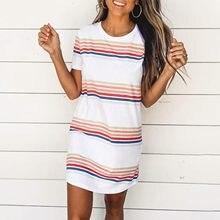 40 # listrado impressão em linha reta vestido mulher vintage envoltório hip em torno do pescoço manga curta slender vestido 2021 solto mini vestido de verão