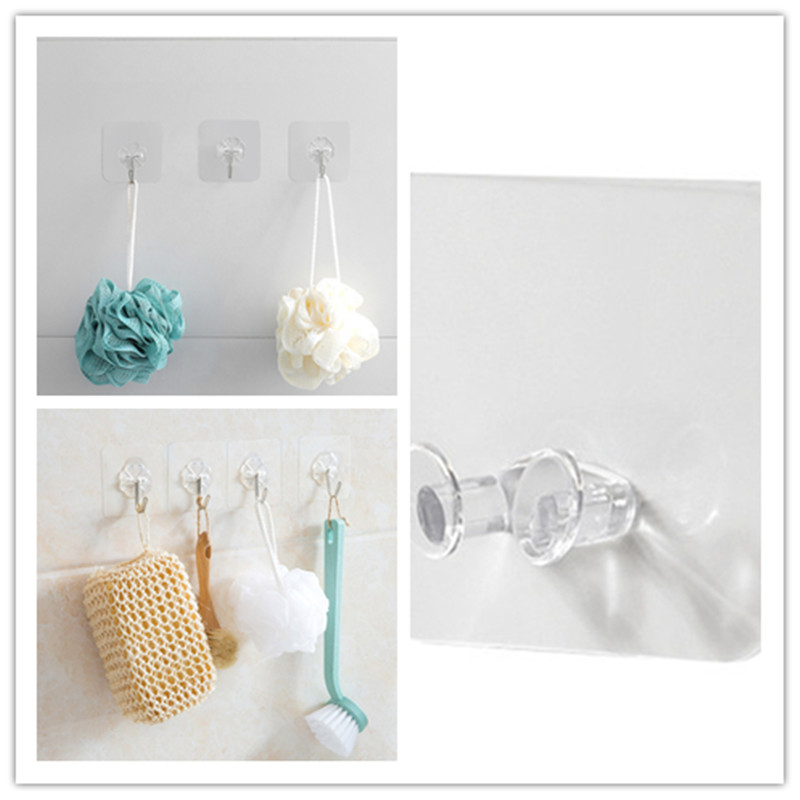 Hot Sale Perforated Transparent Plug Hook Plastic Traceless Power Supply Hook Socket Wire Nail Free Bracket Hanging