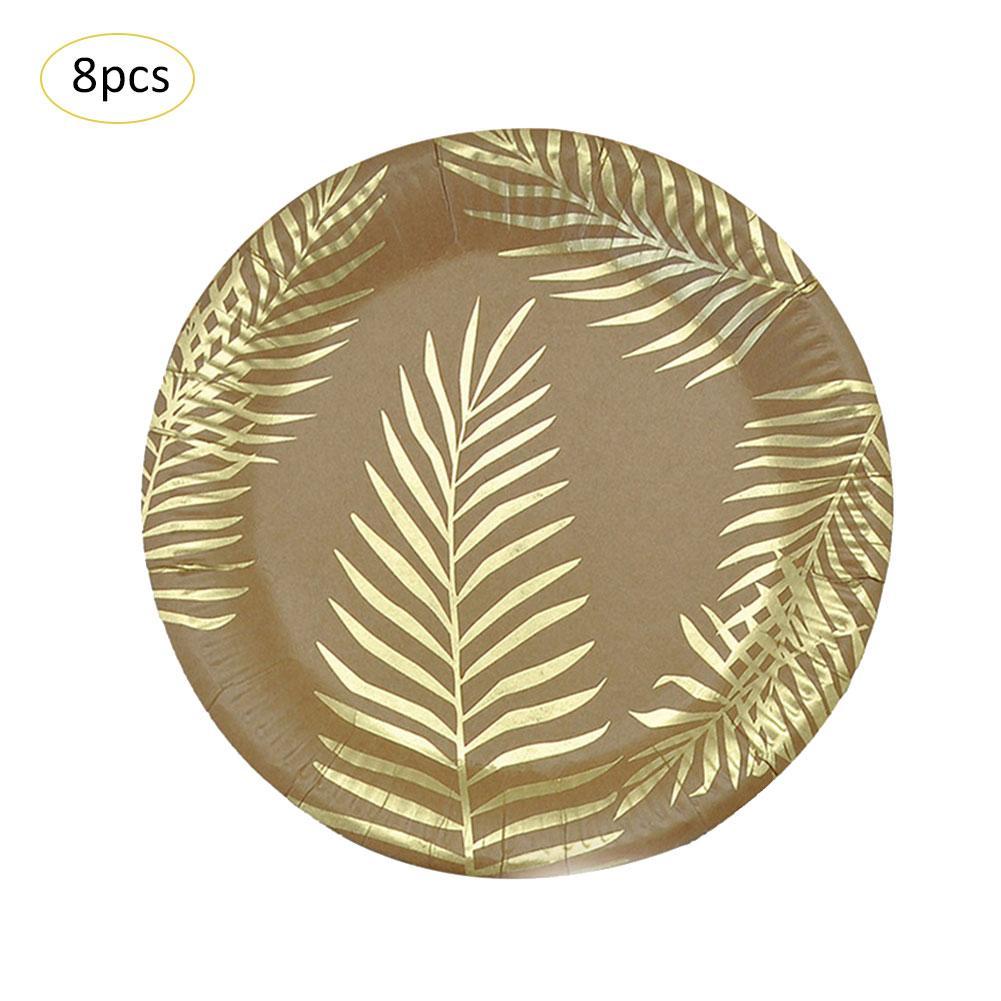Одноразовые бумажные принадлежности для праздника набор столовых приборов Декоративный принт лотки для вечеринок Золотой цветной узор пальмовых листьев окружающей среды - Цвет: 01