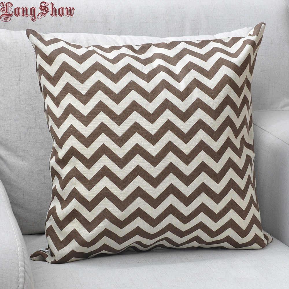 LongShow 45x45cm ev dekoratif sevimli kahve/gri dalgalar pamuk kumaş yastık kılıfı