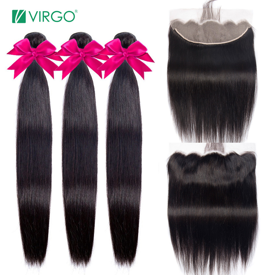Virgo Hair Human Hair Transparent Lace Frontal With Bundles Peruvian Straight Hair Bundles With Closure Remy Free Shipping