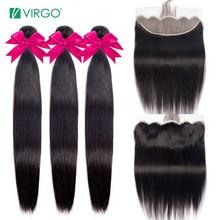 Virgo человеческие волосы, пряди с фронтальной перуанской прямой пряди волос с закрытием Remy