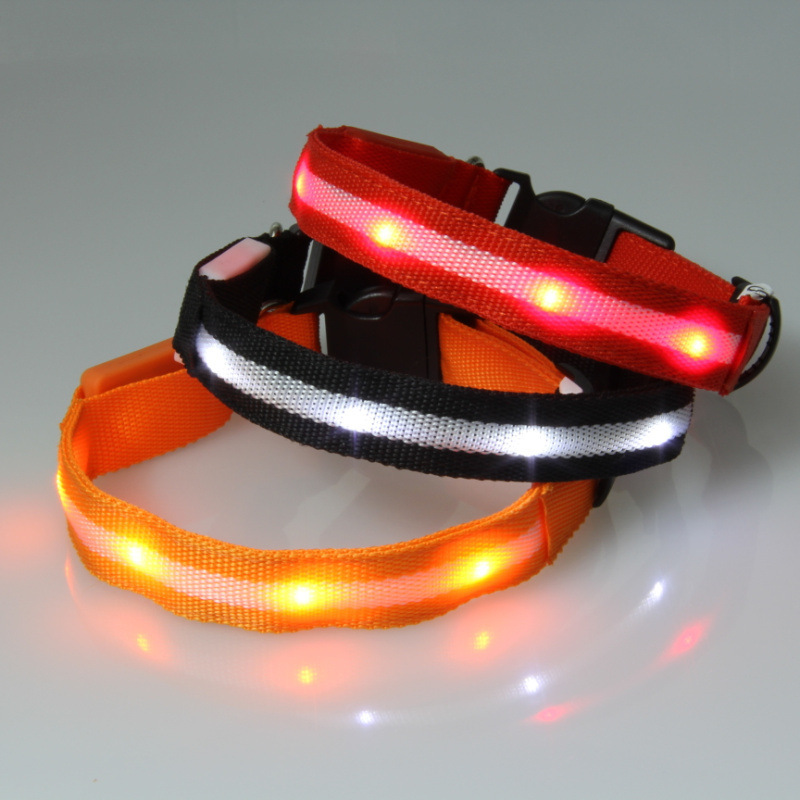 LED Luminous Dog Collar Large And Medium Small Dogs Pet Collar Polyester Webbing Neck Ring Night Light Neck Ring