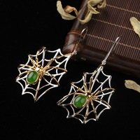 2020 Top Fashion Direct Selling Insect Brinco 925 Sterling Inlaid Natural Hetian Jade Earrings Spider Spinach Pendant Jewelry