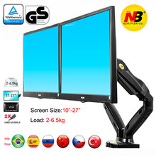 "nb F160 gas spring air press 10""-27"" double monitor desktop stand dual arms 360 rotate USB3.0 computer screen holder clamp hole(China)"