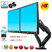 nb F160 gas spring air press 10 27 double monitor desktop stand dual arms 360 rotate USB3.0 computer screen holder clamp hole