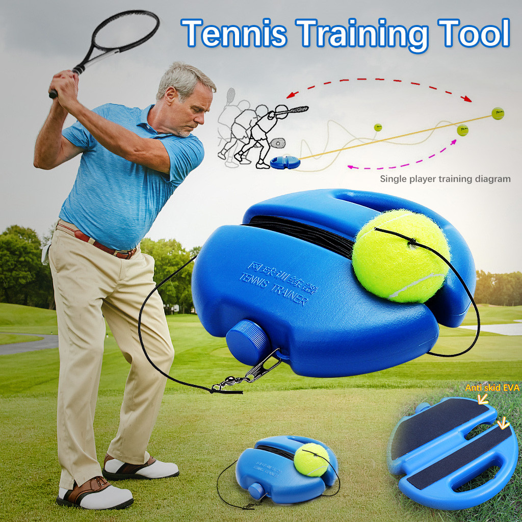 Portable Tennis Training Aids Tool With Elastic Rope 3 Balls Practice Self-Duty Rebound Tennis Trainer Partner Sparring Device