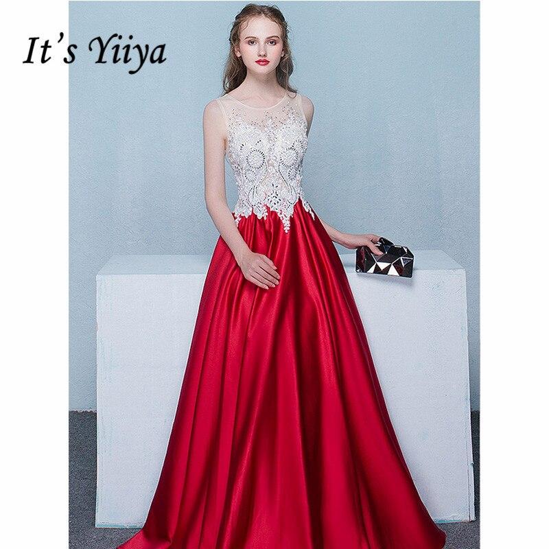 It's Yiiya Evening Dress 2019 Elegant Lace Illusion Sleeveless A-Line Dresses Luxury Train O-Neck Robe De Soiree Plus Size E1076