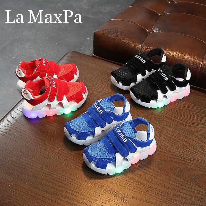 2020 New Summer Kids Glowing Sandals Boys Shoes Children Beach Sandals With Light Non-slip Children Sandals Boy Sadalia Infantil