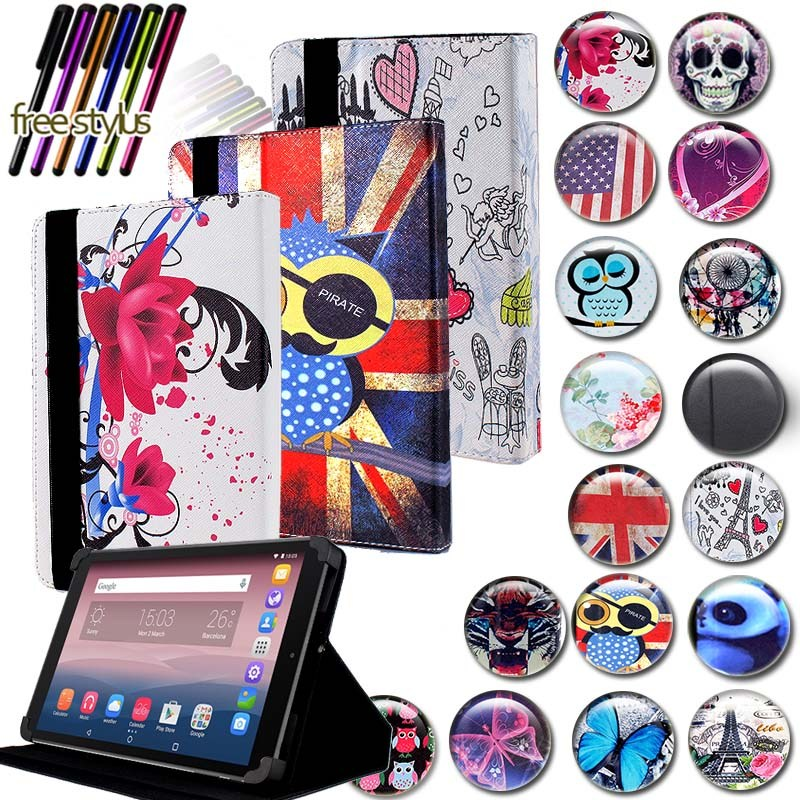 KK&LL For Alcatel OneTouch Pixi 3 10 Inch - Leather Tablet Stand Folio Cover Case + Free Stylus