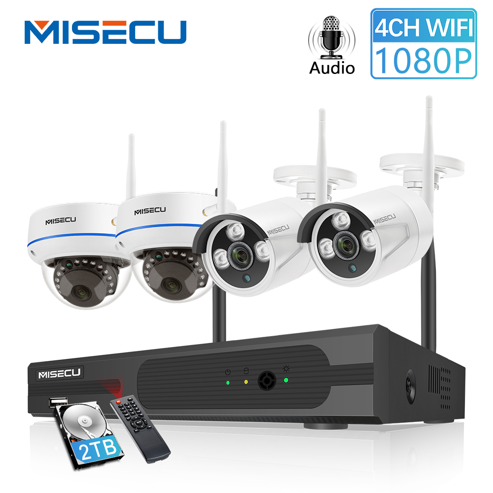 MISECU  4CH 1080P Wireless CCTV System 2MP IP Camera Audio Waterproof  Outdoor Indoor  WIFI Camera System Video Surveillance Kit