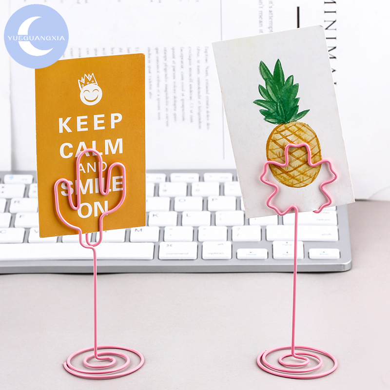 YUEGUANGXIA Ins Style Cactus Swan Heart Star Pink Flamingo Unicorn Memo Clip Picture Holder Standing Paper Clips Decoration