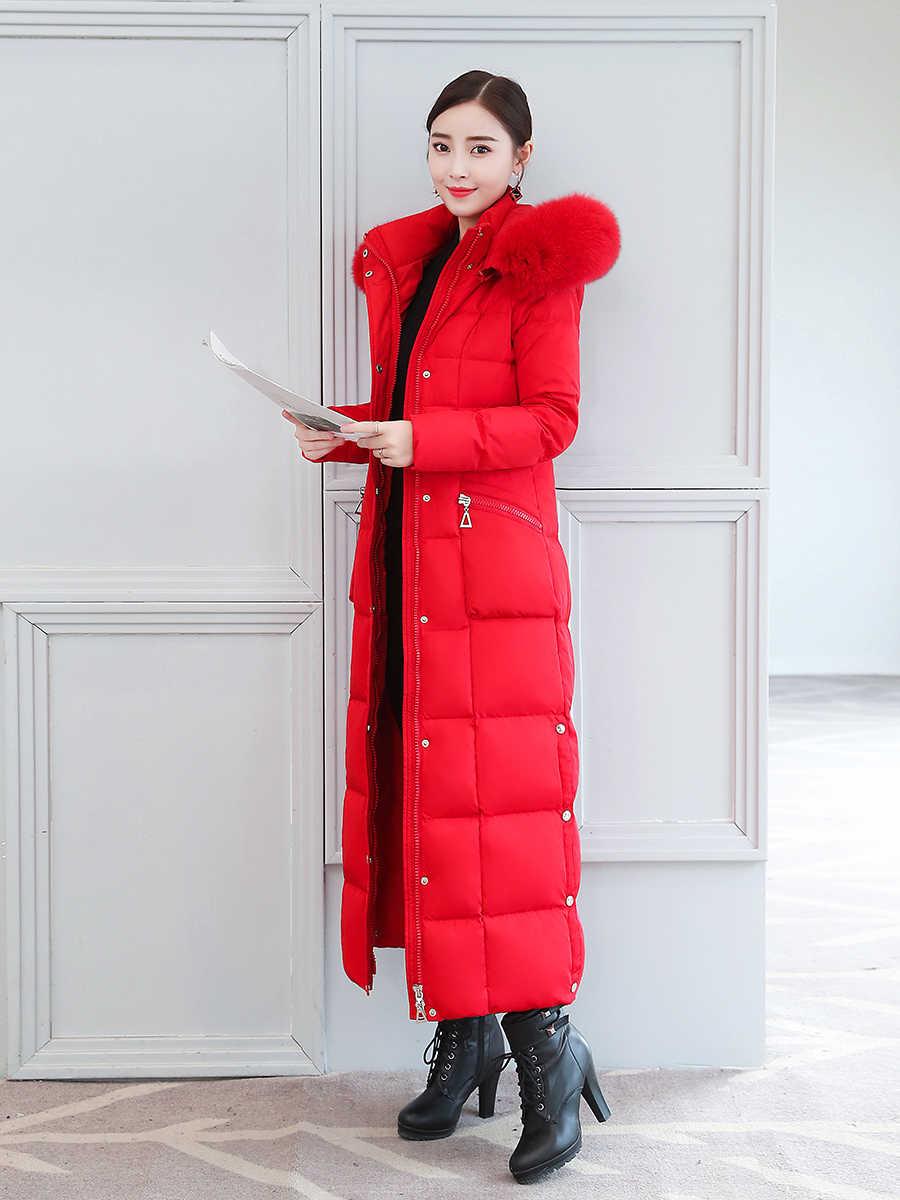Płaszcz zimowy kobieta gruba ciepła, markowa 90% kurtka z puchu kaczego damska długa kurtka 2020 koreański Fox futerka ubrania z kapturem 19
