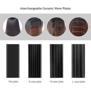 Image 4 - 4 ב 1 שיער קרלינג ברזל + חום עמיד כפפת קרמיקה שיער Curler רולר שיער חשמלי מחליק מלחץ גלי תלתל 42