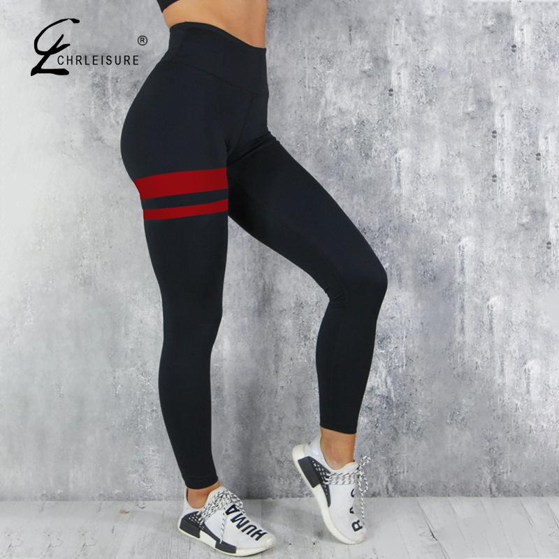 CHRLEISURE Women Sporty Fitness Legging Fashion Sportswear Mujer High Waist Push Up Legins Women