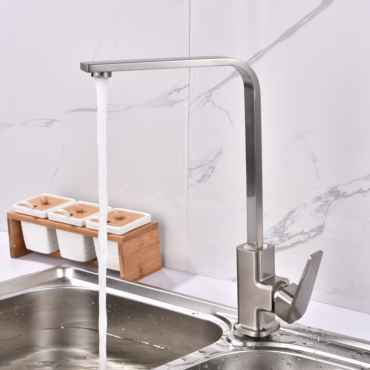 Building Materials Bathroom Sanitary Ware Kitchen Faucet Square Flat Tube Cold Sink Faucet Brushed Single Bore Wholesale